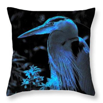 Throw Pillow featuring the photograph Blue Heron by Lori Seaman