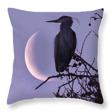 Blue Heron Moon Throw Pillow