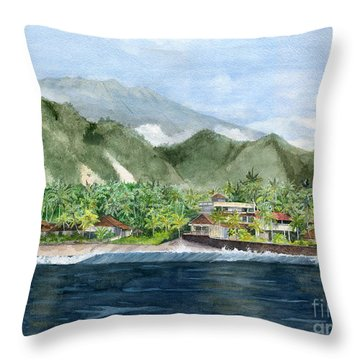 Throw Pillow featuring the painting Blue Lagoon Bali Indonesia by Melly Terpening