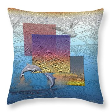 Blue Lagoon Sunrise  Throw Pillow by Serge Averbukh