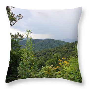 Blue Ridge Mountains Throw Pillow by Ellen Tully