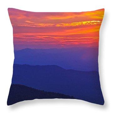 Blue Ridge Parkway Sunset, Va Throw Pillow
