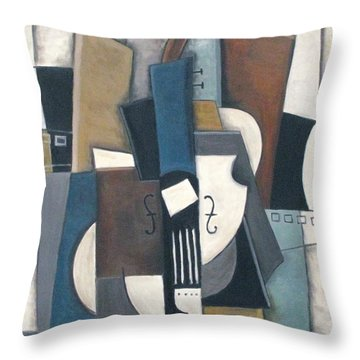 Blue Violin Throw Pillow by Trish Toro