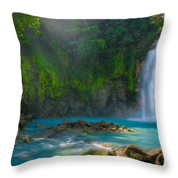 Blue Waterfall Throw Pillow