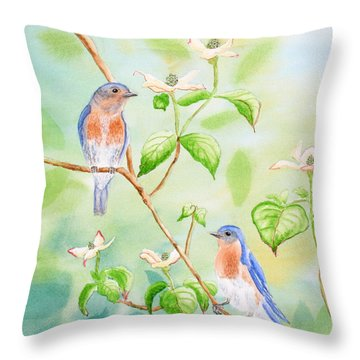 Bluebirds In Dogwood Tree Throw Pillow by Kathryn Duncan