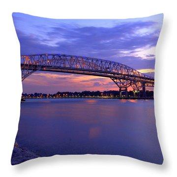 Bluewater Bridge At Sunset Throw Pillow