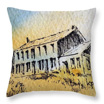 Boardinghouse Cable Ghost Town Montana Throw Pillow by Kevin Heaney
