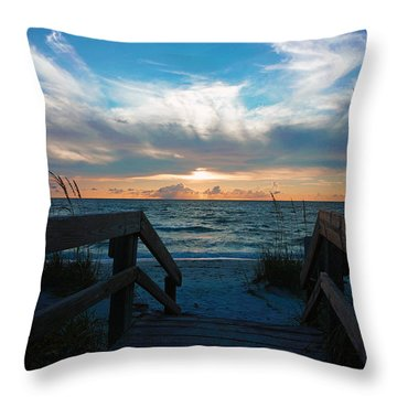 Boardwalk At Delnor-wiggins Pass State Park Throw Pillow