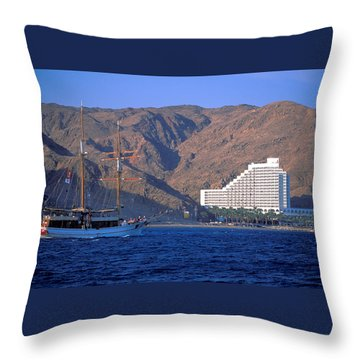 Throw Pillow featuring the photograph Boat Approches Eliat On The Red Sea by Carl Purcell