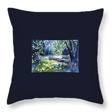 Throw Pillow featuring the painting Boat by Kovacs Anna Brigitta
