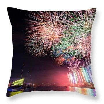 Boathouse Fireworks Throw Pillow