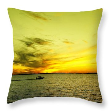 Boating Thru Butter Throw Pillow