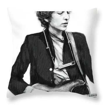 Bob Dylan Drawing Art Poster Throw Pillow by Kim Wang