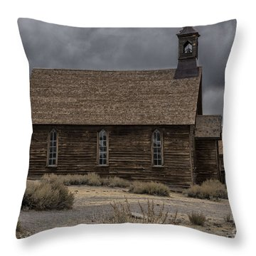 Throw Pillow featuring the photograph Stormy Day In Bodie State Historic Park by Sandra Bronstein