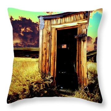 Throw Pillow featuring the photograph Bodie Outhouse by Jim and Emily Bush