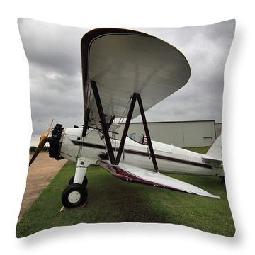 Throw Pillow featuring the photograph Boeing Stearman M7 by Linda Unger