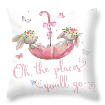 Boho Bunny Rabbits Bunnies Umbrella Watercolor Nursery Wall Art Print Pillow Throw Pillow