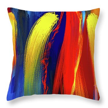 Throw Pillow featuring the painting Be Bold - Primary Colors Abstract Art by Lourry Legarde