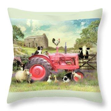 The Farmyard Throw Pillow