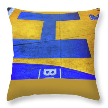 Throw Pillow featuring the photograph Boston Marathon Finish Line by Joann Vitali