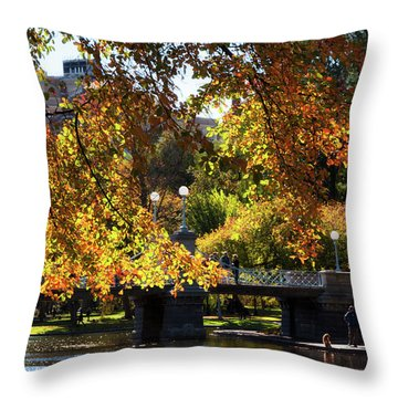 Throw Pillow featuring the photograph Boston Public Garden - Lagoon Bridge by Joann Vitali