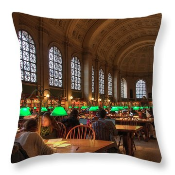 Throw Pillow featuring the photograph Boston Public Library by Joann Vitali