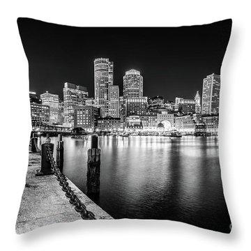 Boston Skyline At Night Black And White Photo Throw Pillow
