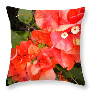 Throw Pillow featuring the painting Bouganvilla 1 by Renate Nadi Wesley