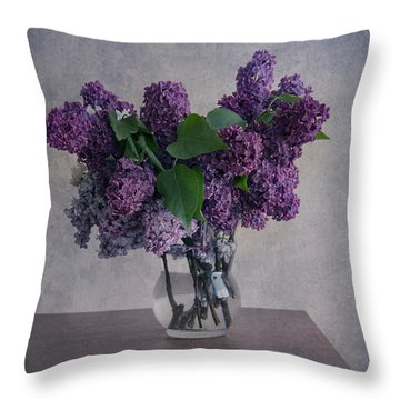 Throw Pillow featuring the photograph Bouquet Of Fresh Lilacs by Jaroslaw Blaminsky
