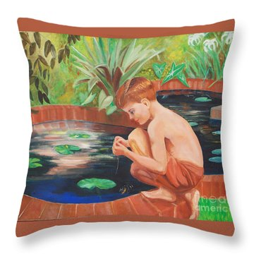 Boy Fishing Throw Pillow by Fred Jinkins