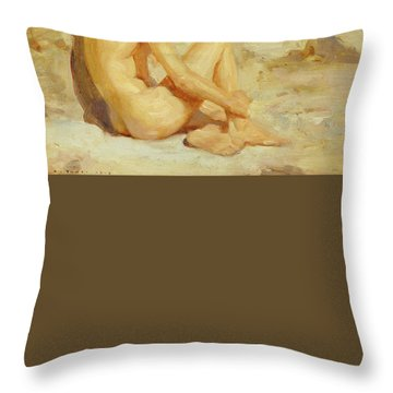 Boy On A Beach Throw Pillow by Henry Scott Tuke