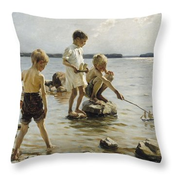 Boys Playing On The Shore Throw Pillow