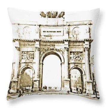 Brandenburg Gate, Berlin Germany, 1903, Vintage Image Throw Pillow