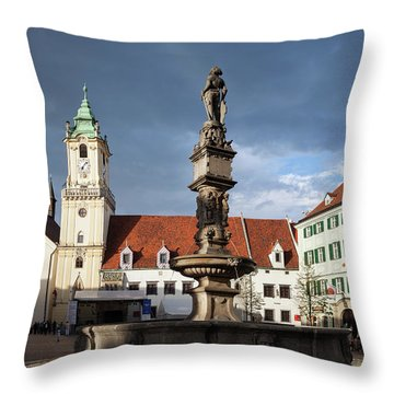 Bratislava Old Town Hall And Roland Fountain  Throw Pillow