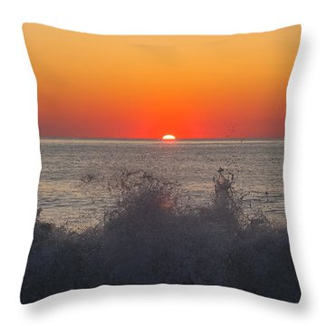 Breaking Wave At Sunrise Throw Pillow by Allan Levin