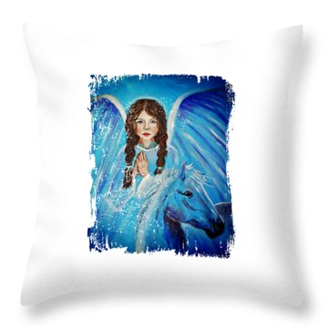 Brianna Little Angel Of Strength And Courage Throw Pillow by The Art With A Heart By Charlotte Phillips