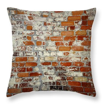 Brick Wall Throw Pillow by Les Cunliffe