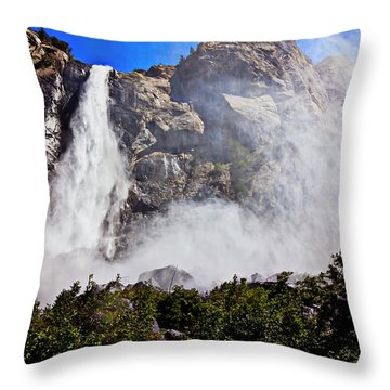 Bridalveil Fall Yosemite Valley Throw Pillow by Garry Gay