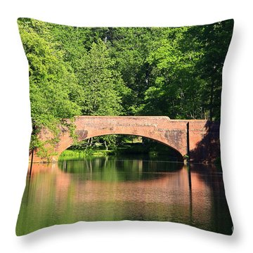 Bridge Reflection In The Spring Throw Pillow