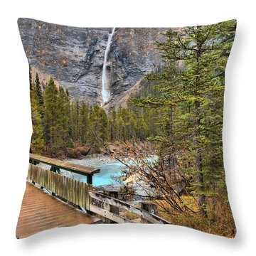Throw Pillow featuring the photograph Wooden Bridge To Takakkaw Falls by Adam Jewell