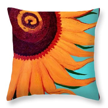 Throw Pillow featuring the painting Bright Happy Sunflower by Margaret Harmon