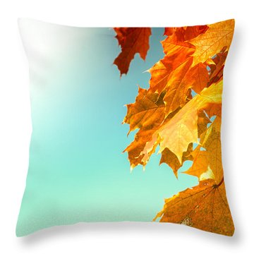 Yellow Autumn White Sun Throw Pillow