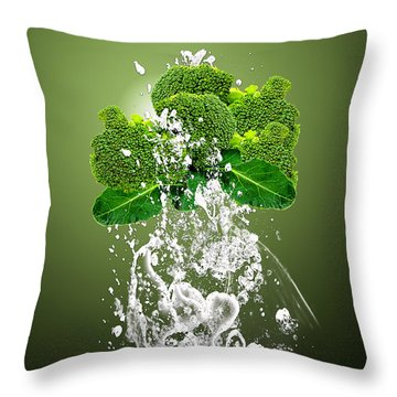 Broccoli Splash Throw Pillow