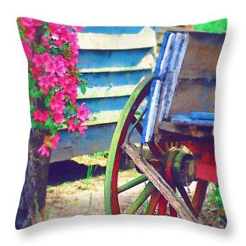 Throw Pillow featuring the photograph Broken Wagon by Donna Bentley