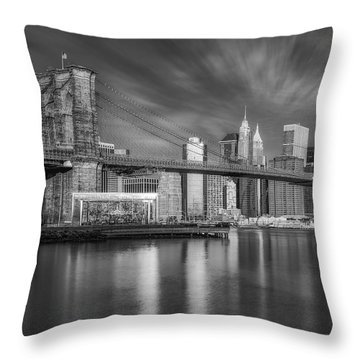 Brooklyn Bridge From Dumbo Throw Pillow by Susan Candelario