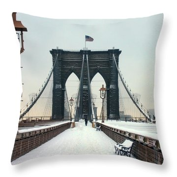 Brooklyn Bridge Throw Pillow by June Marie Sobrito