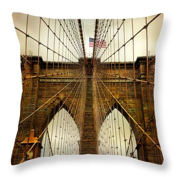 Brooklyn Bridge Twilight Throw Pillow by Jessica Jenney