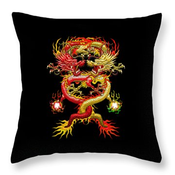 Brotherhood Of The Snake - The Red And The Yellow Dragons Throw Pillow by Serge Averbukh