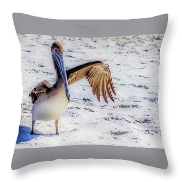 Brown Pelican Wave Throw Pillow