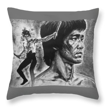 Bruce Lee Throw Pillow by Darryl Matthews